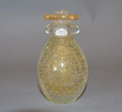Vintage Clear & Gold Dust Controlled Bubbles Murano Art Glass Perfume Bottle