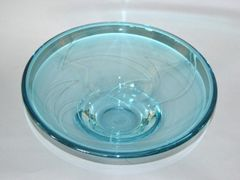 Modern Blue Art Glass Centerpiece, Bowl by Mark J. Sudduth, Studiopiece