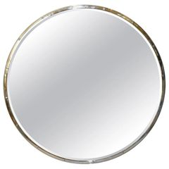 Design Institute of America 'DIA' Mid-Century Modern Round Beveled Chrome Mirror