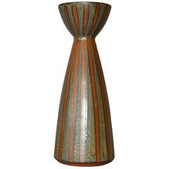 Vintage Scandinavian Modern Striped Art Pottery Decorative Vase in Brown & Blue
