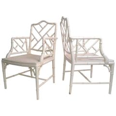 Hollywood Regency Faux Bamboo Chippendale Armchairs - A Pair
