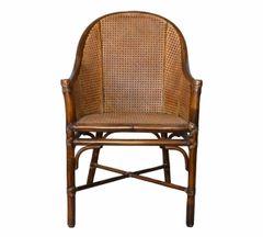 McGuire Mid-Century Modern Bamboo & Cane Armchair Leather Bindings, Desk Chair