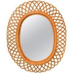 Handcrafted Vintage Oval Bent Rattan Mirror