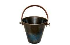 Vintage Gunmetal Ice Bucket & Champagne Cooler With Leather Handle