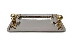 Serving Tray in Brass and Chrome Brass Detailing
