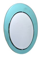 Italian Oval Wall Mirror in the Manner of Fontana Arte
