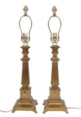 Pair of Bronze Obelisk Table Lamps