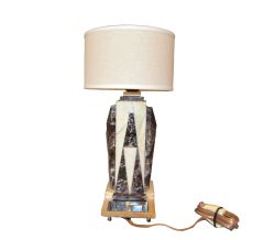 Petite Art Deco Italian Marble & Chrome Bedside Table Lamp with Round Shade