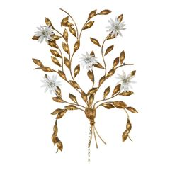 Vintage Golden Metal Tree Branch Wall Sculpture With 5 Flower Lights