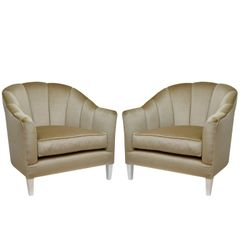Pair of Lounge Chairs in Luxurious Mohair