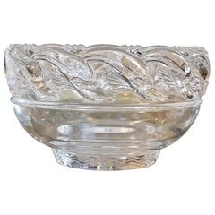 Mid-Century Modern Clear Tiffany & Company Art Glass Crystal Bowl With Dolphins
