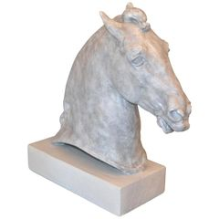 Signed Plaster Horse Head Sculpture on Wooden Base, 1961