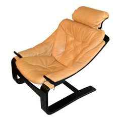 20th Century Swedish Leather Kroken Cantilever Chair by Ake Fribytter for Nelo