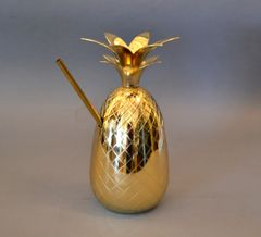 Brass Pineapple Pina Colada Cup With Straw