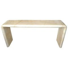 Karl Springer Mid-Century Modern Long Lacquered Goatskin Console Table, 1970