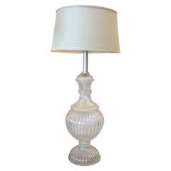 Italian Tall Clear Hand-Blown Ribbed Murano Glass & Aluminum Neck Table Lamp