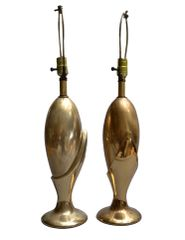 A Pair of Art Deco Brass Table Lamps by Heyco