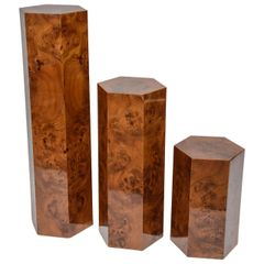 Hexagonal Burl Wood Pedestals - Set of 3