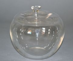 Vintage Crystal Clear Art Glass Apple by Elsa Peretti for Tiffany