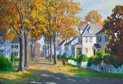 J. Holloway Impressionist Fall Street Scene