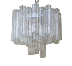 Italian Round Three-Tier Tronchi Glass Chandelier