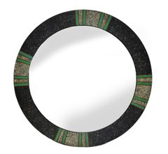 Round Tessellated and Painted Wood Mirror Green and Gray