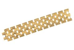 Art Deco brass bracelet with brick wall design, circa 1930. Made in France.