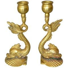 Bronze Neoclassical Sea Serpent or Koi Fish Candle Holders, Candlesticks - Pair