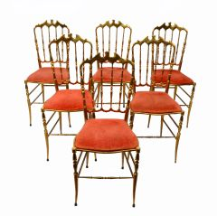 Set of Six Bronze Chiavari Chairs