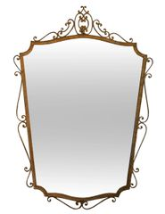 Art Deco Style Italian Gilt Wrought Iron Wall Mirror by Pier Luigi Colli