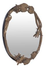 Oval Mirror Bronze Cast of Waterline Flora and Fauna