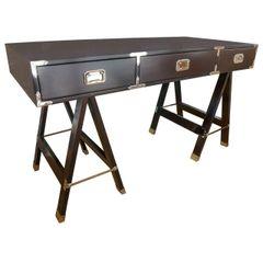Campaign Desk in Deep Dark Brown Stain