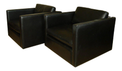 Pair of Leather Armchairs by Charles Pfister for Knoll