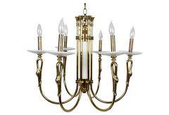 Brass & Marble Swan Head Chandelier