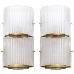 Art Deco Brass and Murano Glass Sconces