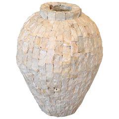 Tessellated Fossil Stone Floor Vase