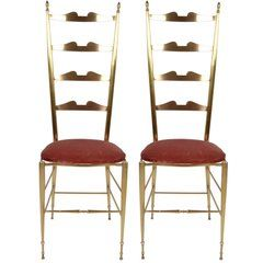 Italian Chiavari Bronze High Back Chairs, a Pair