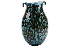 Marine Blue Vase w/ Floating Rings - Italy