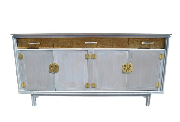 Mid Century Modern Burl Wood And Brass Credenza Cerused Finish