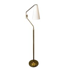 Tall Brass Floor Lamp with Adjustable Arm and Off White Fabric Cone Shade