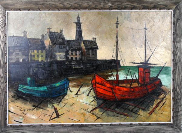 Harbor Scene By M Edward Griff Galleria D Epoca Vintage