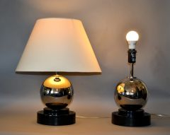 Modern Van Teal Chrome Ball Table Lamps - Pair