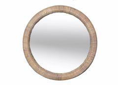 Mid-Century Modern Round Rattan Wall Mirror