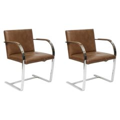 Pair of Ludwig Mies van der Rohe Flat Bar Brno Chairs by Knoll