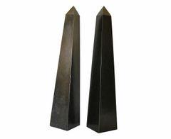 Pair of Mid-Century Modern Black Marble Obelisks