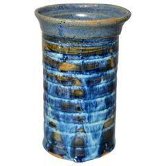 Vintage Scandinavian Modern Glazed Art Pottery Decorative Vase Shades of Blue