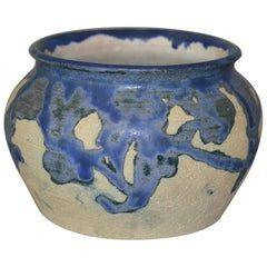 Eli Hanemann Vintage Drip Glaze Blue & Beige Pottery Ceramic Bowl Signed