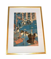 Gilt Framed Utagawa Kuniyoshi Japanese Original Woodcut Print on Paper 1845