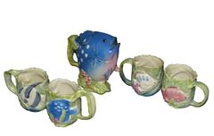 Vintage Japanese Takahashi San Francisco Hand Painted 5 Pieces Fishes Tea Set