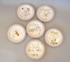 6 Art Nouveau French Faience Enamel Decorated Emile Galle Nancy Plates, Signed